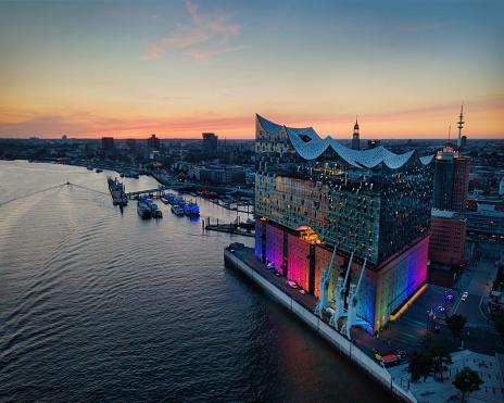 Elbphilharmoni Sunset Hamburg Germany