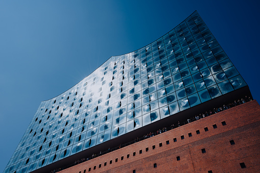 Elbphilharmonie building in HamburgCity with tourist people, Hamburg, Germany