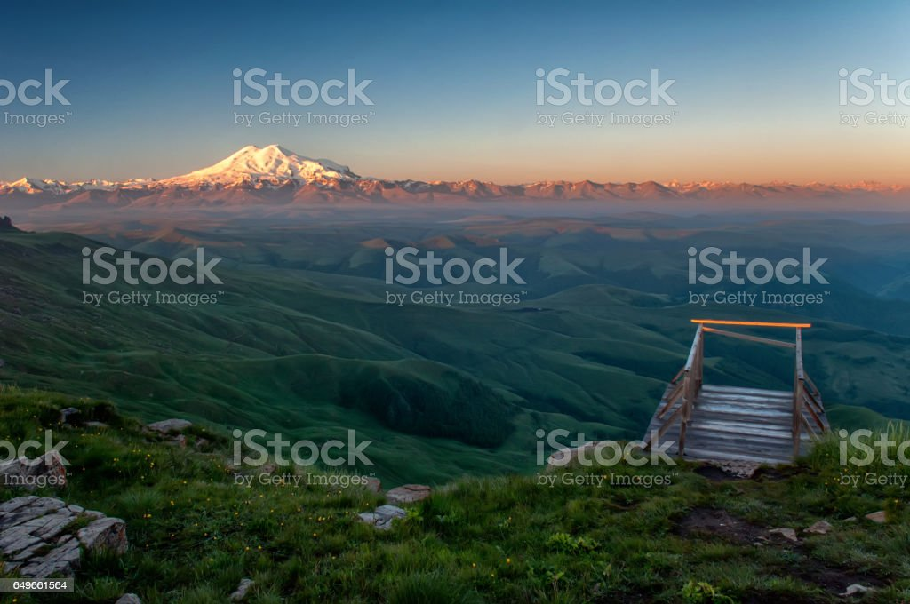 Elbrus on the sunrise, mountains in summer stock photo