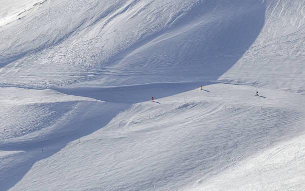 Elbrus ski tracks, bird's eye view stock photo