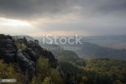 istock Elbsandstein mountains and Elbe valley in fall 522382211