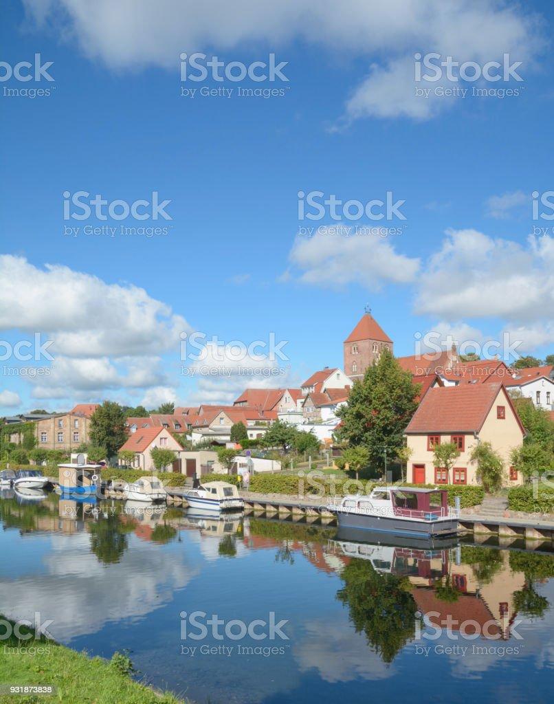Elde River,Plau am See,Mecklenburg Lake district,Germany stock photo