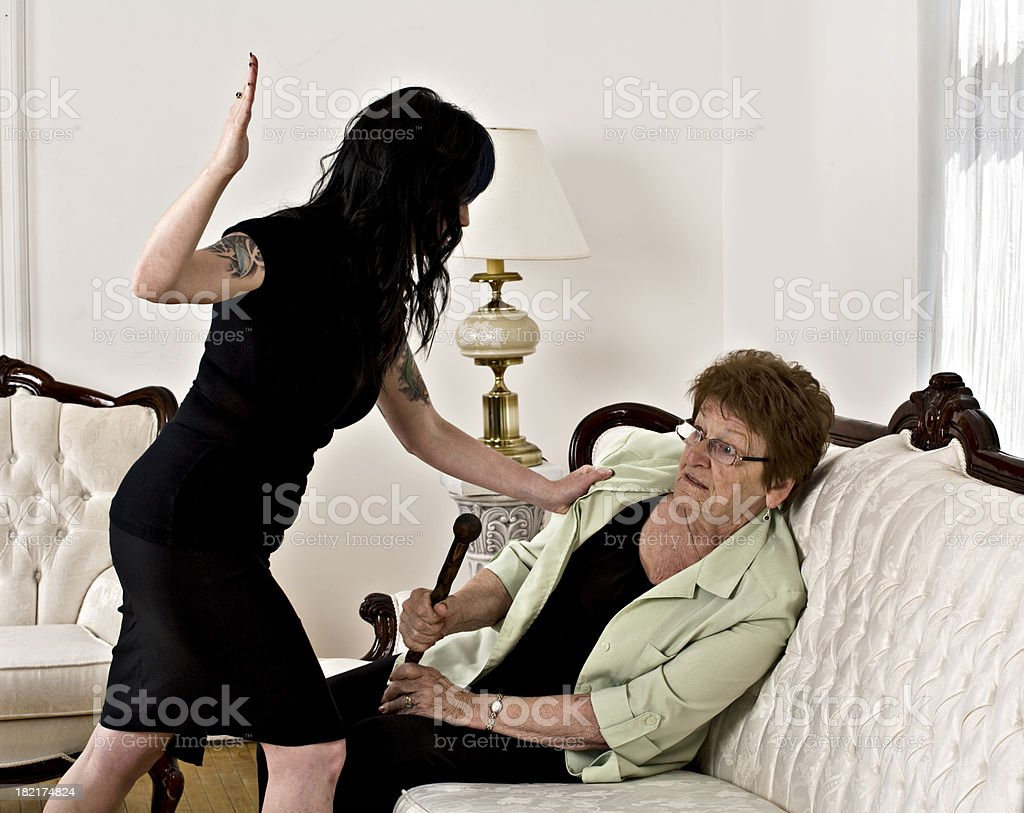 Elder abuse royalty-free stock photo