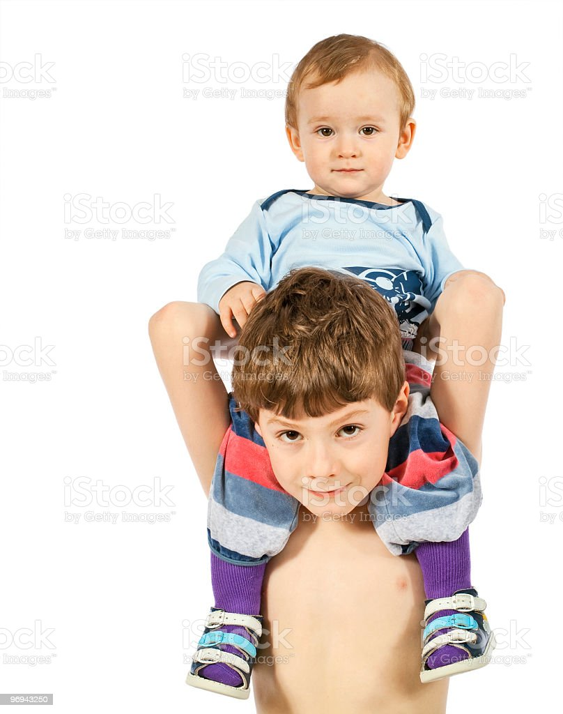 Elder brother and small boy royalty-free stock photo