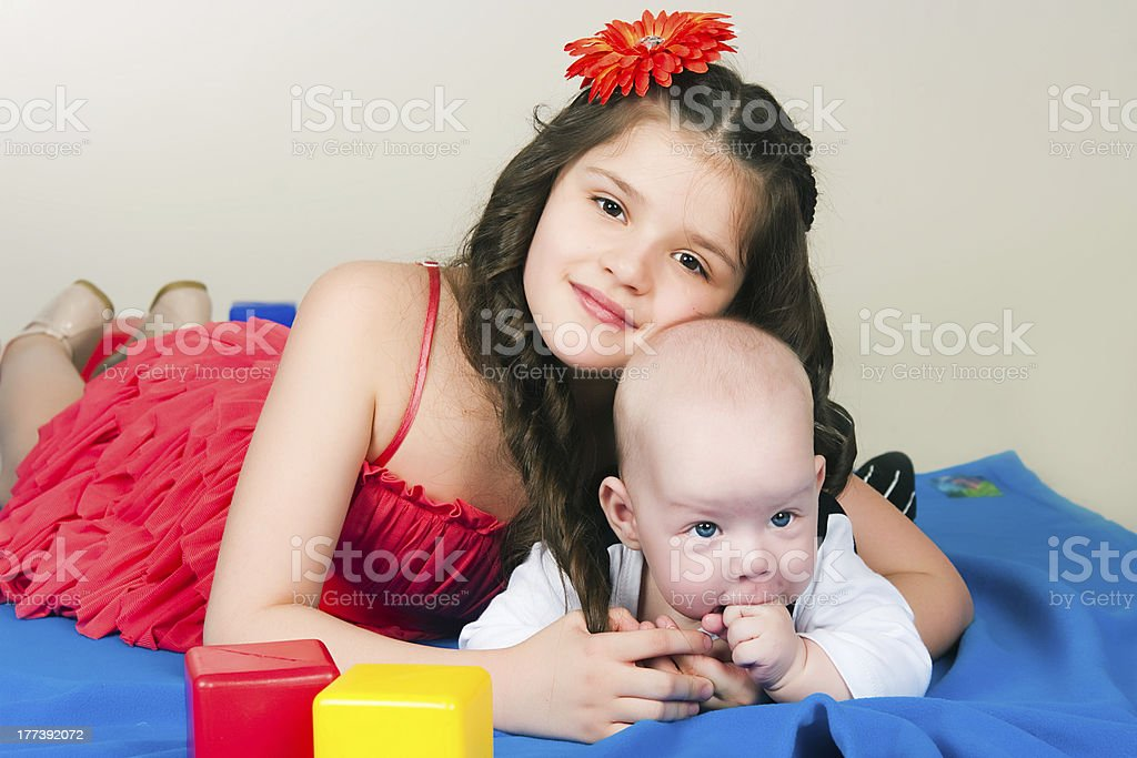 elder sister and little brother royalty-free stock photo