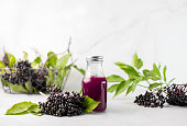 istock Elderberry syrup in a bottle, front view 1271495889