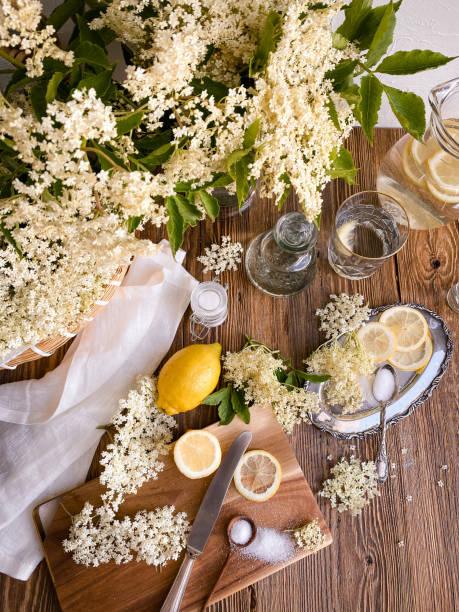 Elderflower blossom syrup making with lemons on wood stock photo