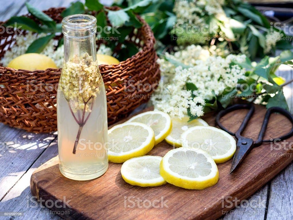 Elderflower juice and all ingredients stock photo