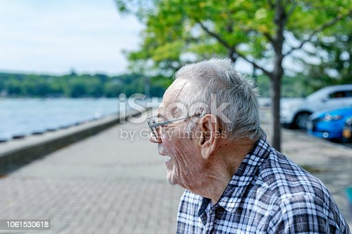 Side view portrait of a cheerful, elderly, 95 year old senior adult man sitting outdoors at the lake. He is enjoying himself watching the off-camera boats and other water activities on Canandaigua Lake - one of the western New York State Finger Lakes - near Rochester, NY on a sunny, late summer afternoon.