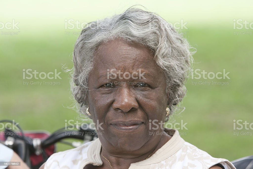 Elderly african american lady outside stock photo