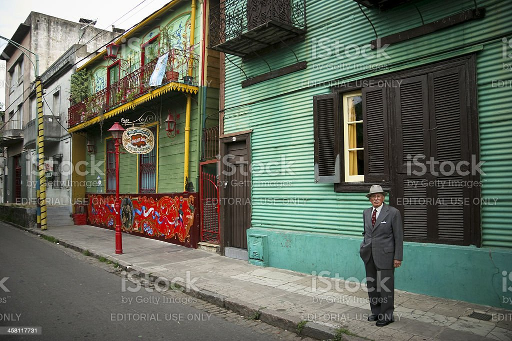 Elderly Argentinian Man At Caminito stock photo