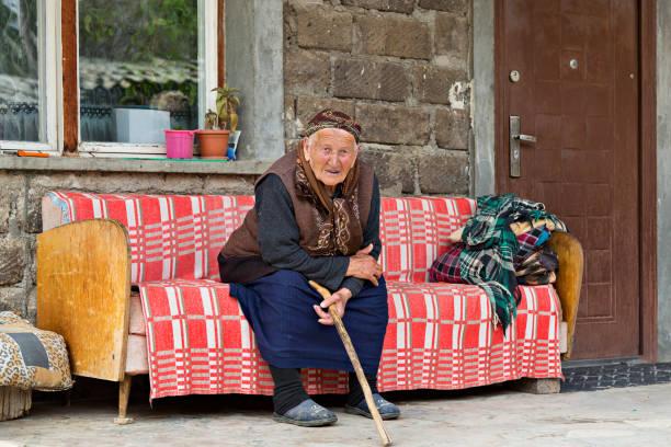 elderly armenian woman, areni, armenia. - eastern european culture stock photos and pictures
