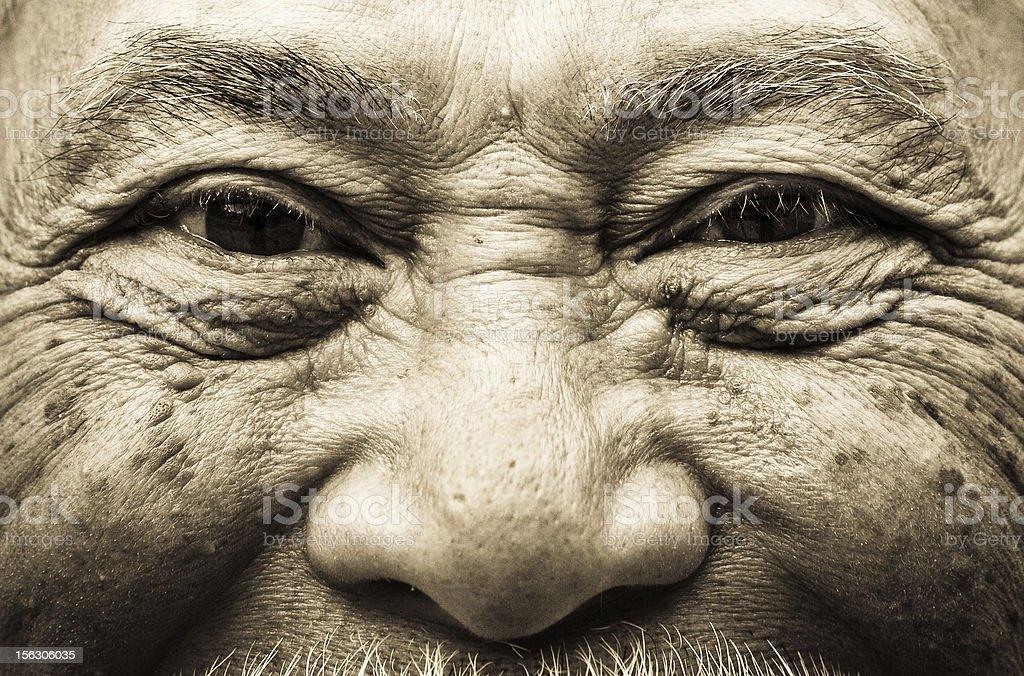 Elderly Asian man closeup stock photo