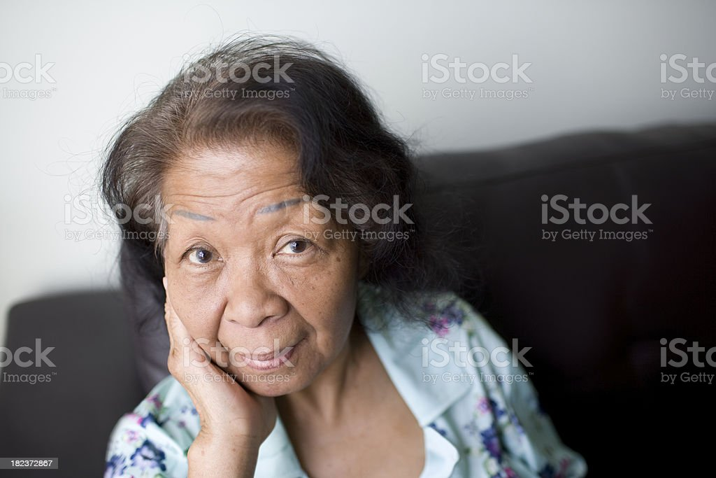 Elderly Asian Woman's Portrait royalty-free stock photo