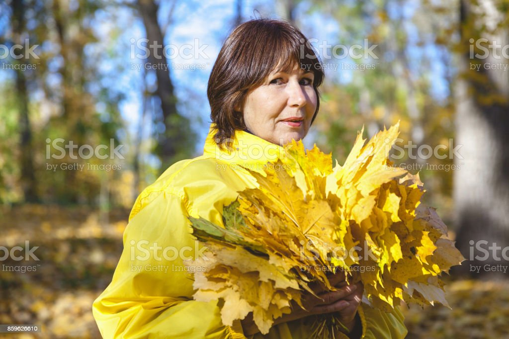 Elderly attractive woman hiding her face behind armful yellow autumn leaves stock photo