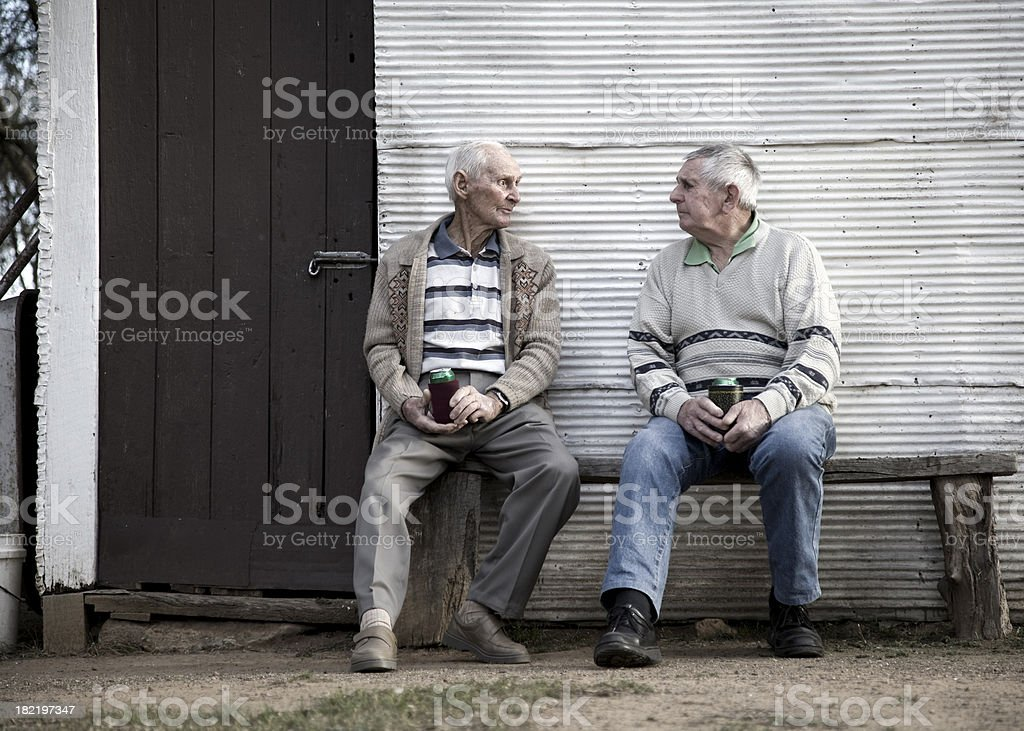 Elderly Brothers stock photo