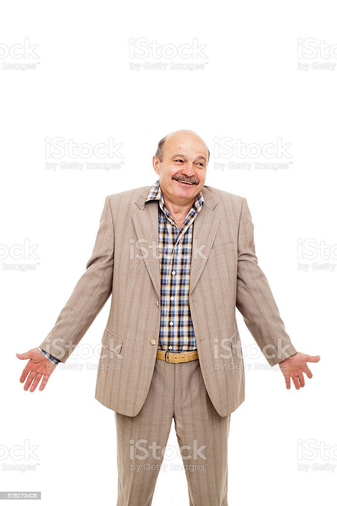 elderly businessman shrugs from ignorance stock photo