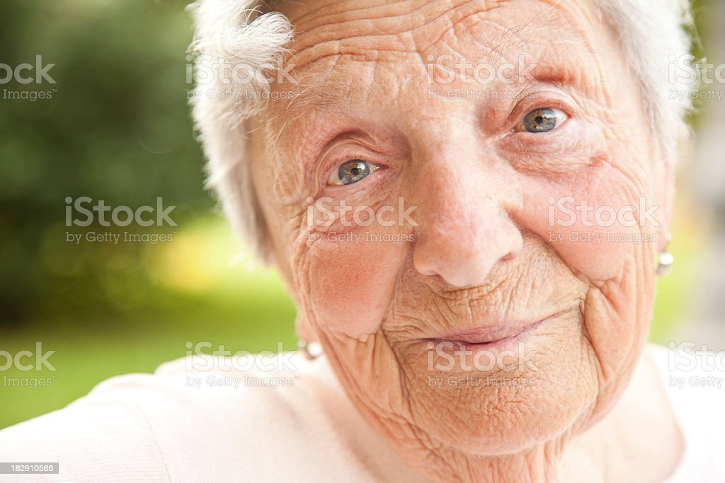 Elderly but healthy looking lady royalty-free stock photo