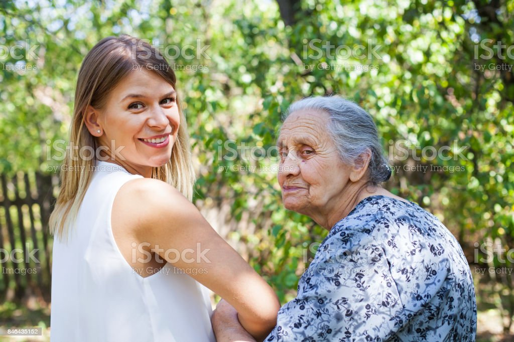 Elderly care - back view stock photo