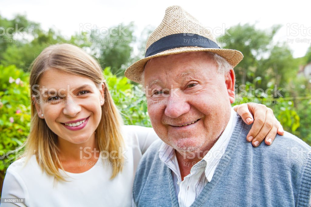 Elderly care outdoor stock photo