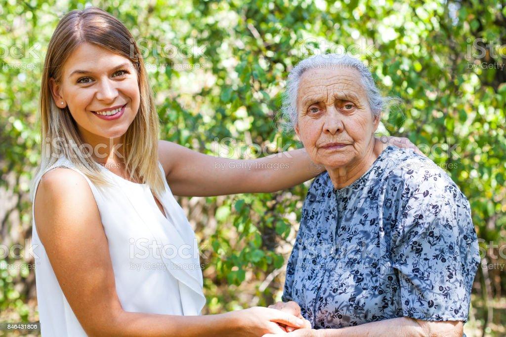 Elderly care - outdoor stock photo