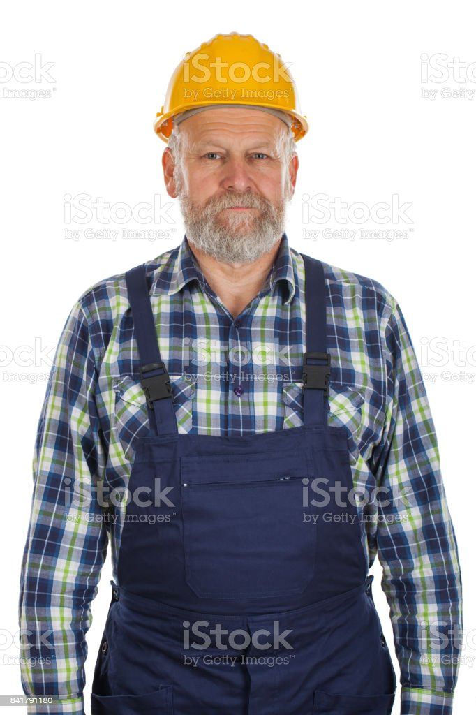 Elderly constructor on isolated background stock photo