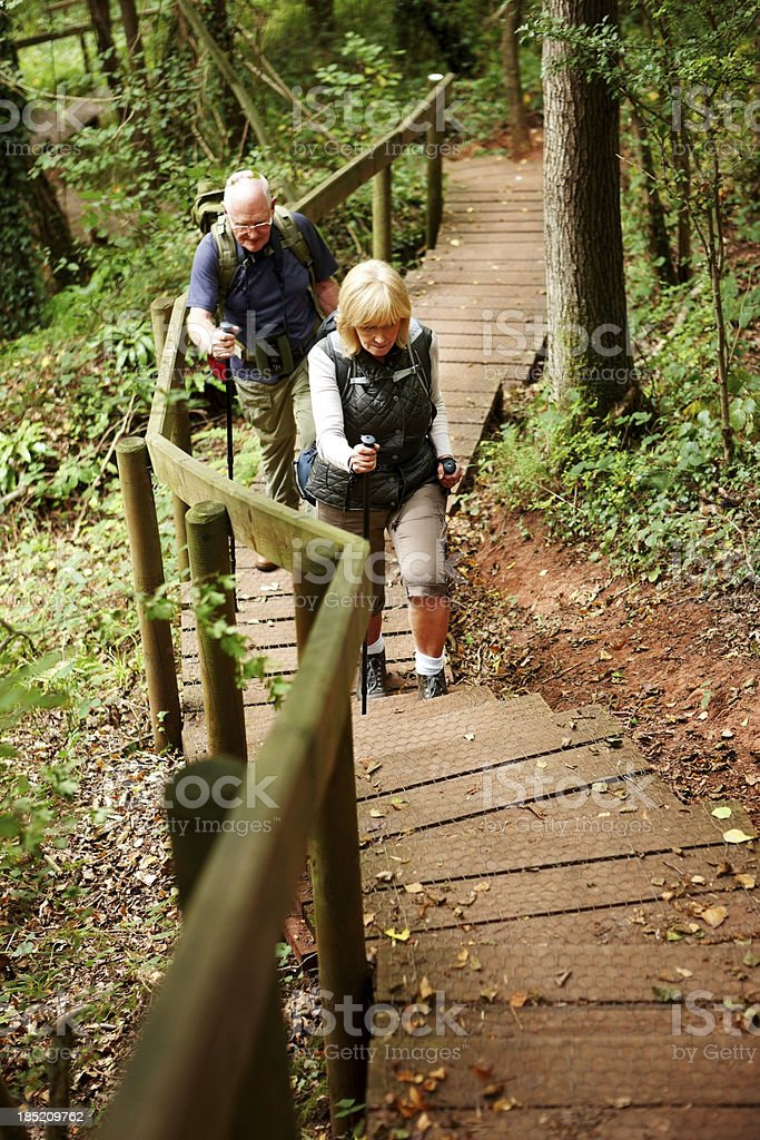 Elderly couple hiking in countryside royalty-free stock photo