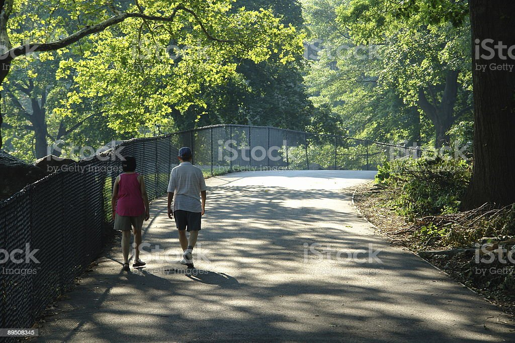 Elderly couple in Central Park royalty-free stock photo
