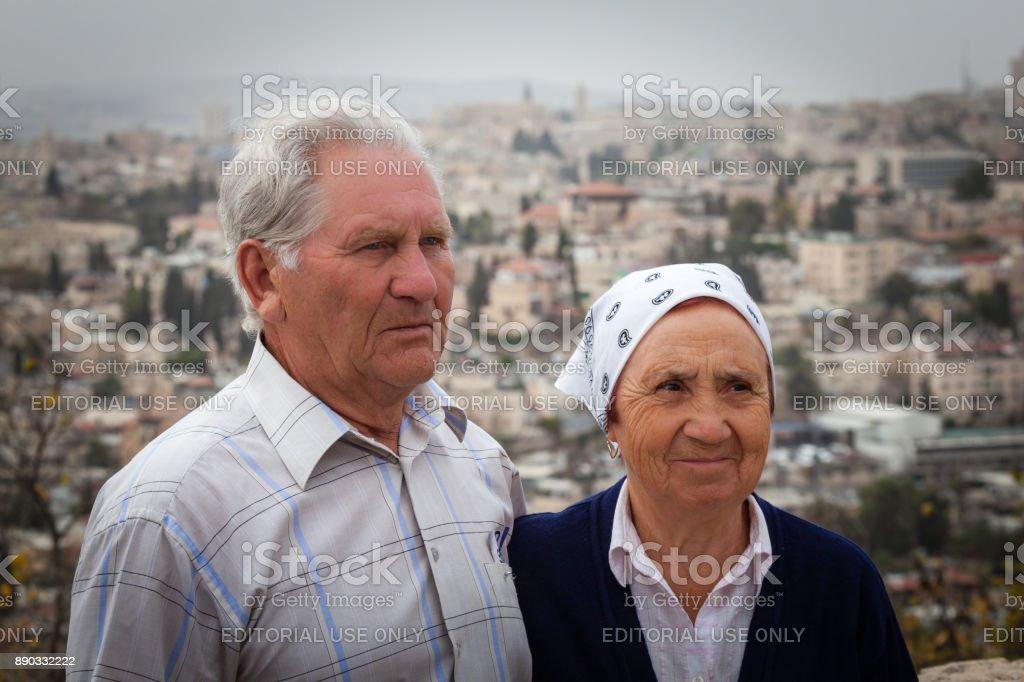 Elderly Couple Jerusalem Israel stock photo