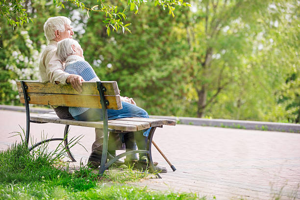 Elderly couple outdoors stock photo