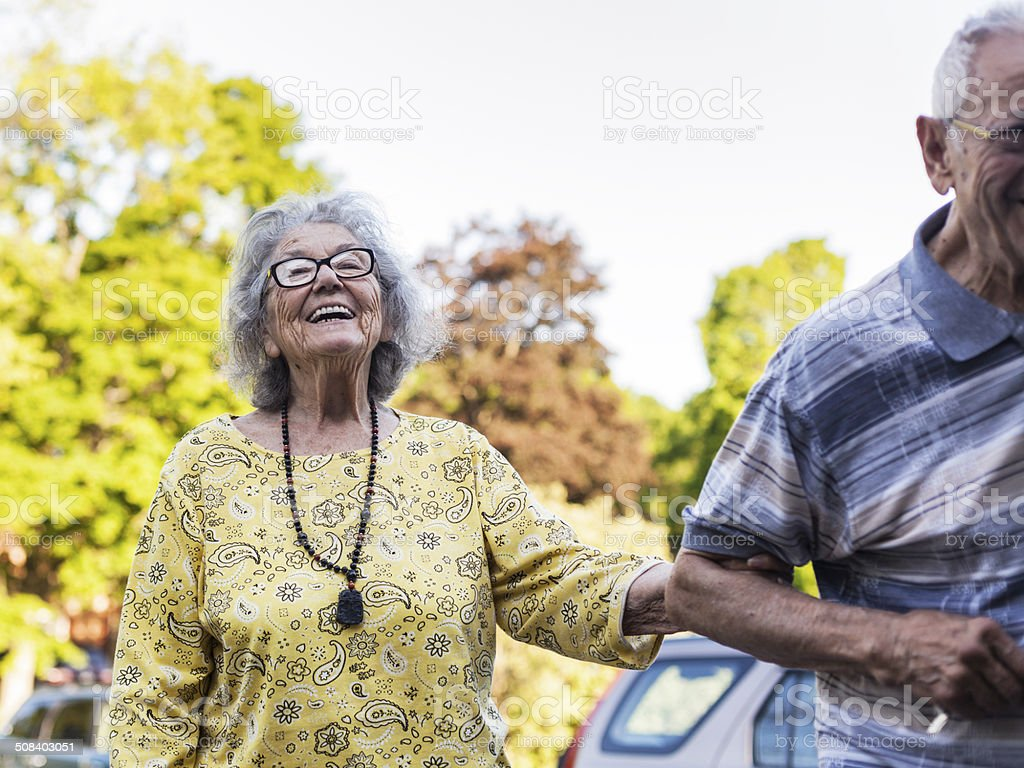 Elderly Couple Woman Laughing royalty-free stock photo