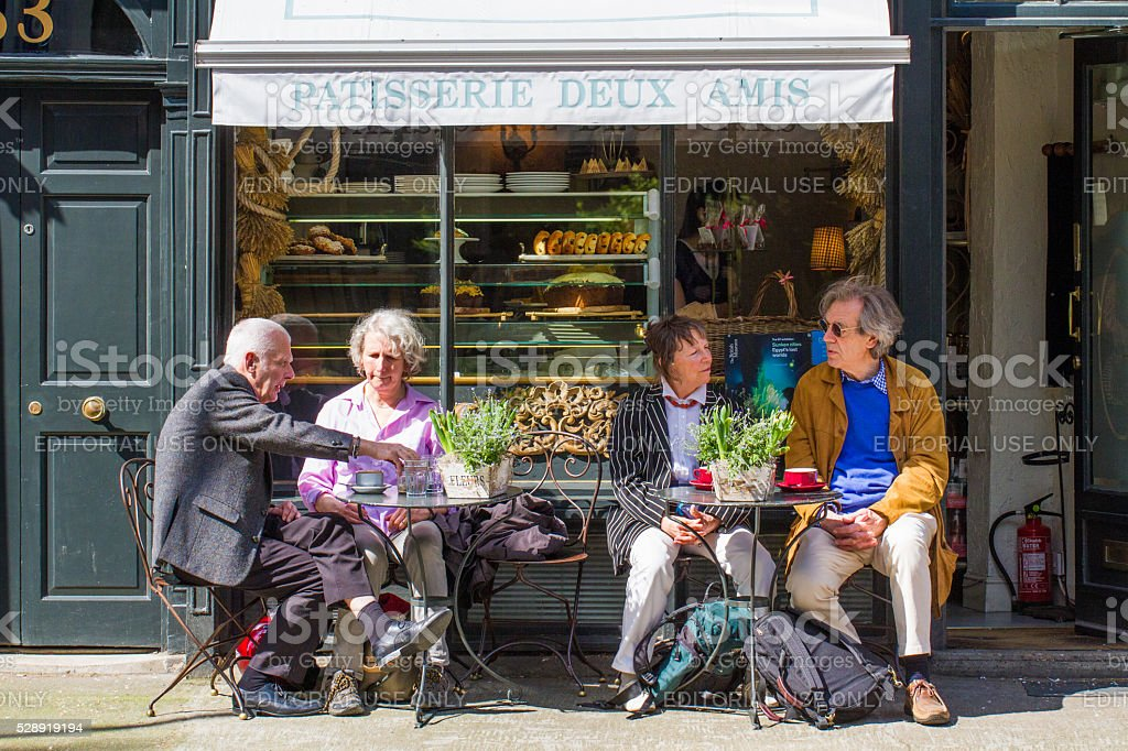 Elderly Couples Lunch Break stock photo