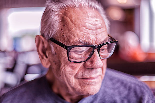 Elderly Dementia Man Waiting For Breakfast Looking Down – Foto