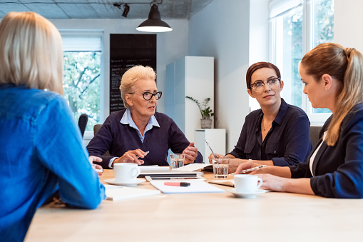 Elderly Expertise Discussing Plan With Colleagues Stock Photo - Download Image Now