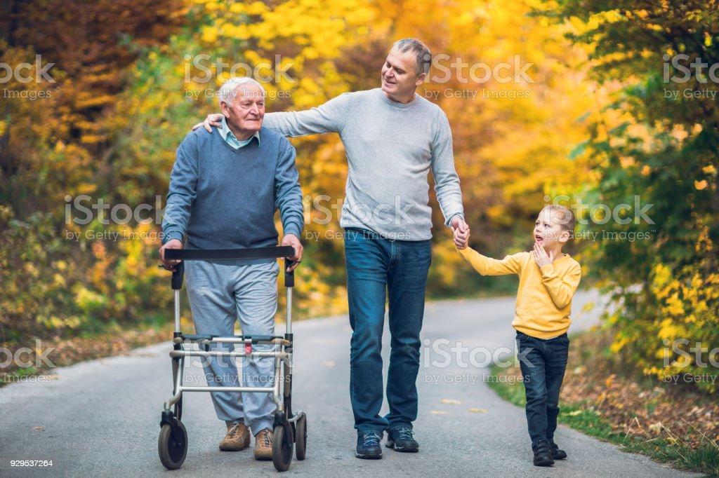 Anciano padre hijo adulto y nieto hacia fuera para una caminata en el parque. - foto de stock