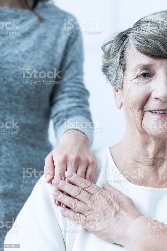 Elderly female with positive attitude stock photo