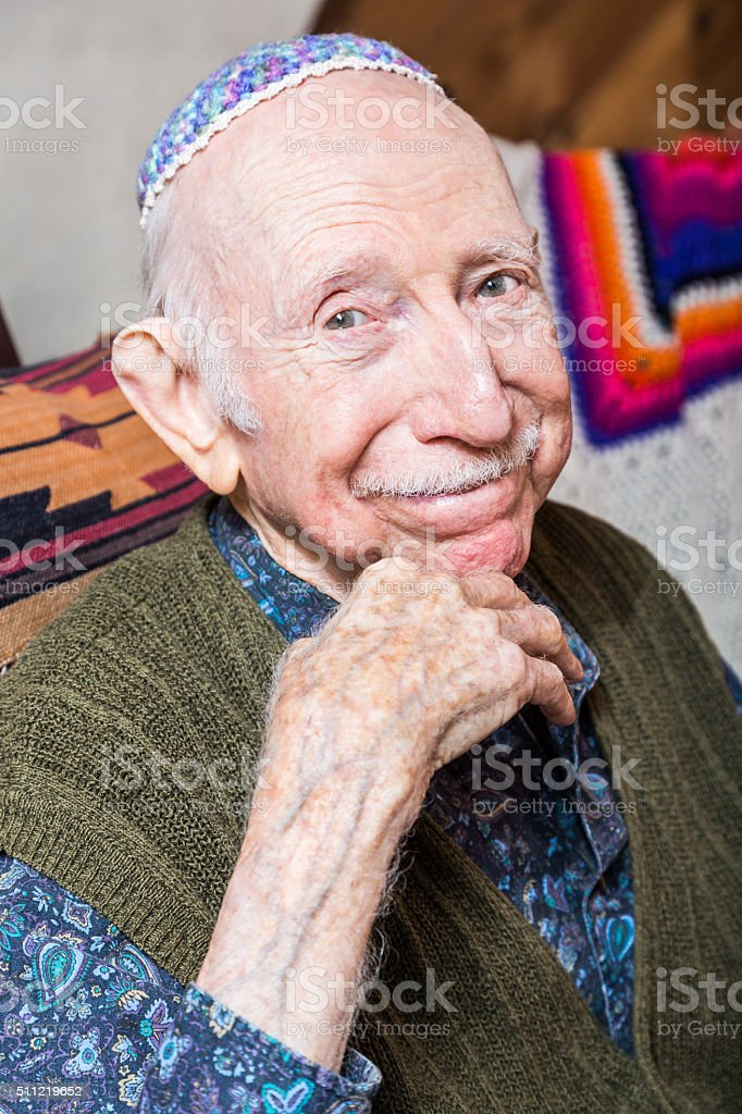 Elderly Gentleman Wearing Yarmulke stock photo