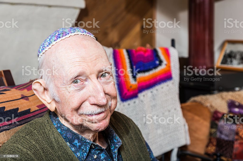 Elderly Gentleman with Yarmulke stock photo