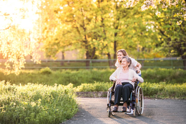 elderly grandmother in wheelchair with granddaughter in spring nature. - idosos imagens e fotografias de stock