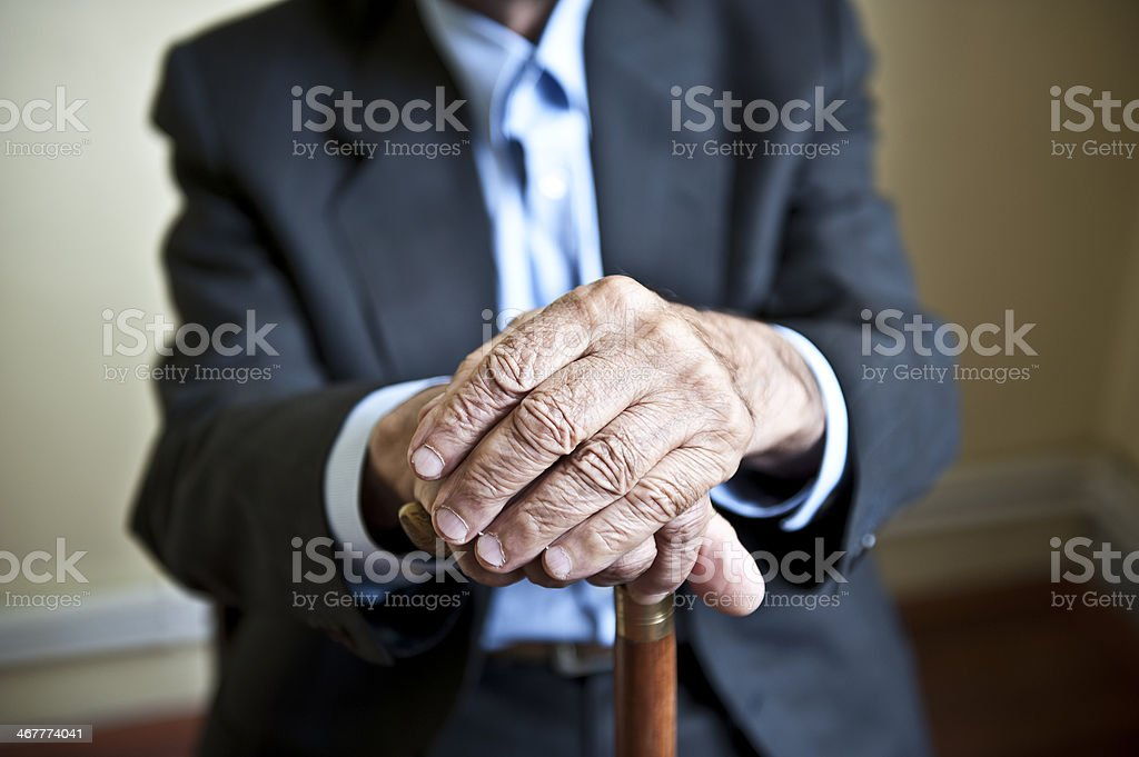 Elderly hands stock photo