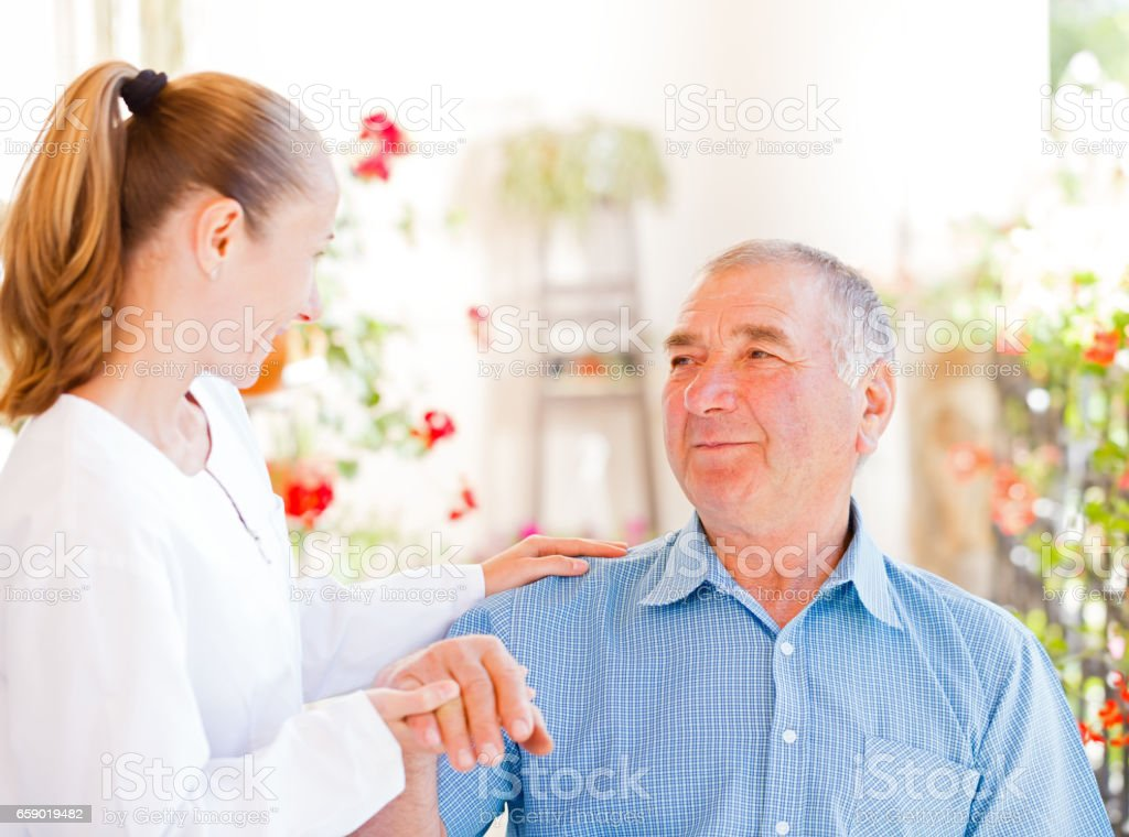 Elderly home care stock photo