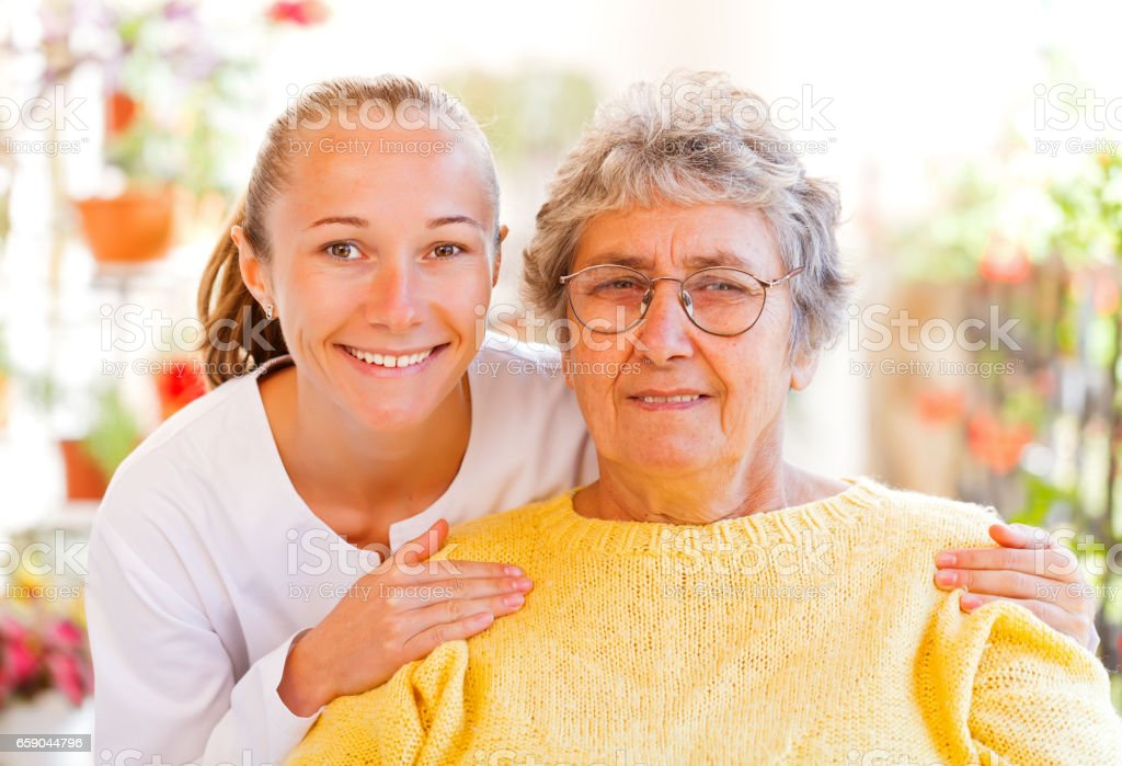 Elderly home care royalty-free stock photo