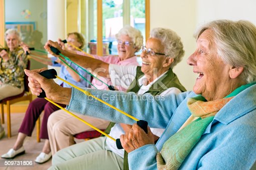 istock Elderly ladies exercising in a gym. 509731806