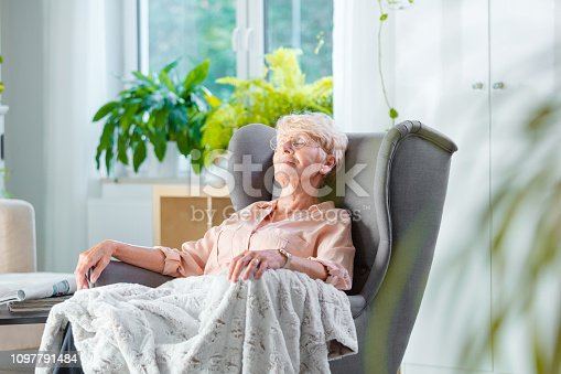 Pleased senior woman napping in an armchair covered with blanket in her house alone.