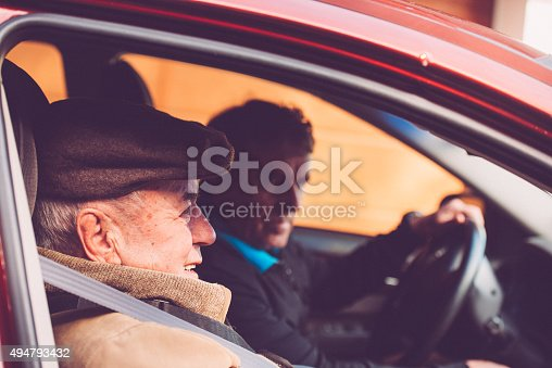 istock Elderly Man and Son Sitting in the Car, Europe 494793432