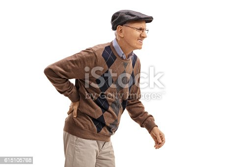 istock Elderly man experiencing back pain 615105768