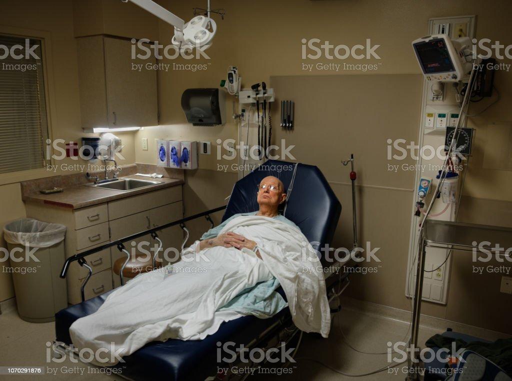 Elderly Man in Emergency Room stock photo