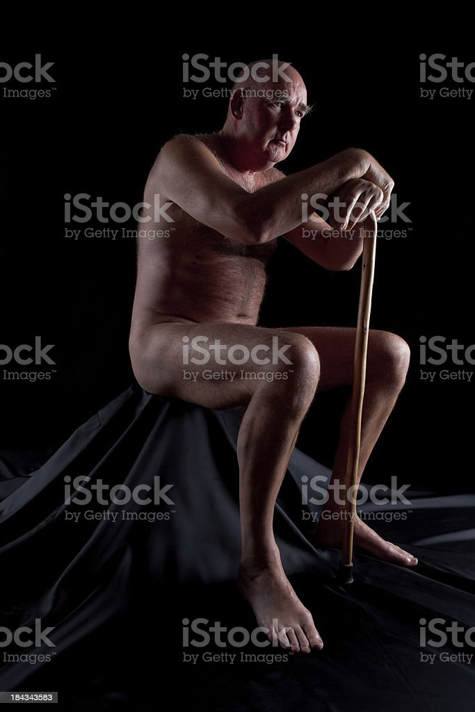 Elderly Man In Naked Contemplation royalty-free stock photo