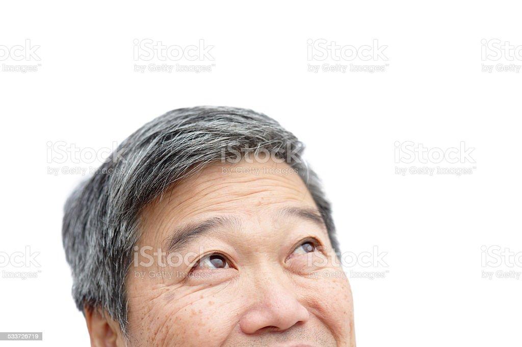 elderly man look copy space stock photo