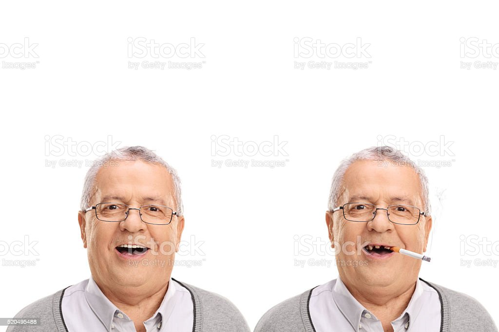 Elderly man showing the harmful effetcs of smoking stock photo